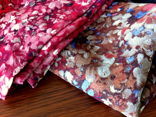 floral chiffon in raspberry and pumpkin