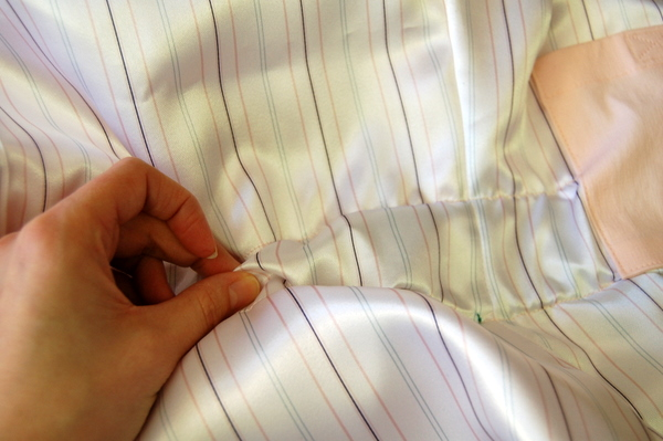 use safety pin to push elastic through casing