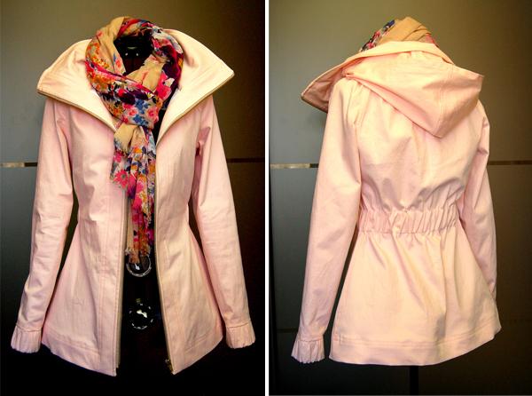 finished minoru jacket in peach cotton