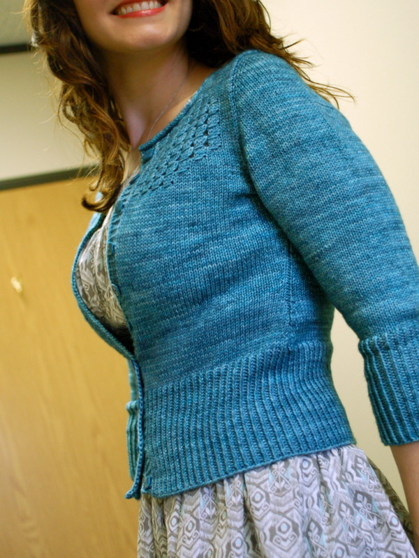 audrey in unst cardigan, in happiness blue