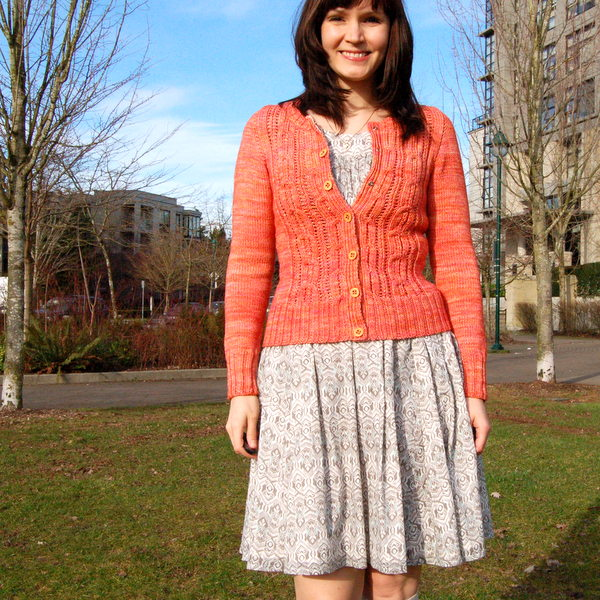 coral cardigan with cables