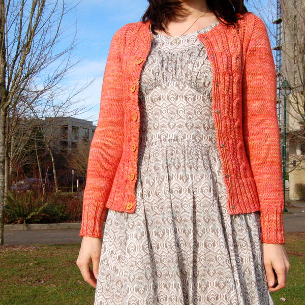 coral cardigan - looks good open, too