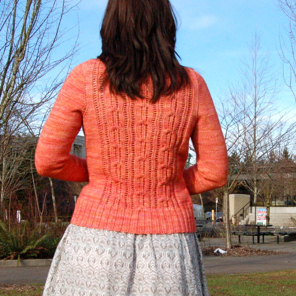 coral cardigan, back view