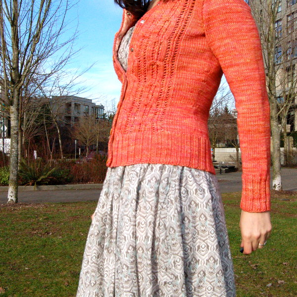 coral cardigan, side view