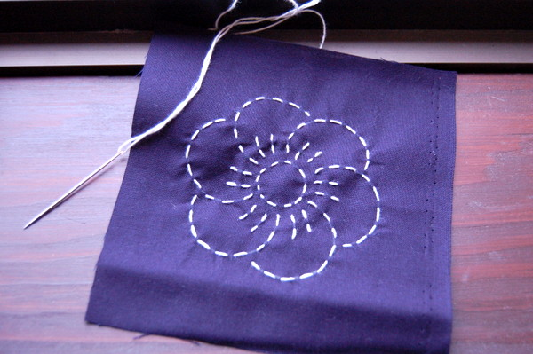 finished sashiko embroidered flower
