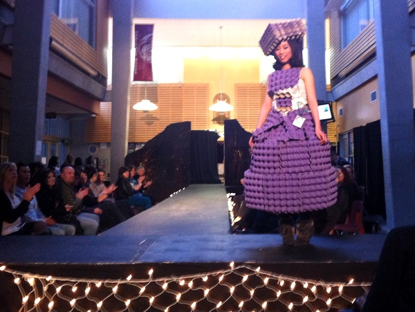 dress made from egg cartons
