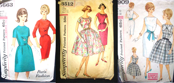 wiggle dresses on vintage sewing patterns