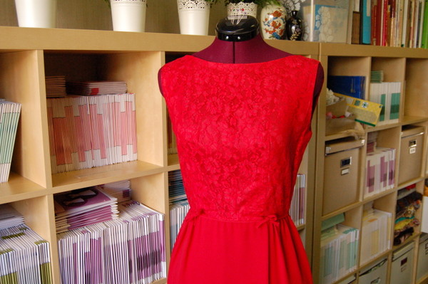 red lace vintage 1960s dress