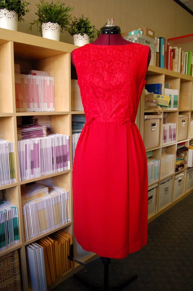 1960s red lace wiggle dress