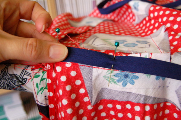 pin bias tape to waistline seam allowance