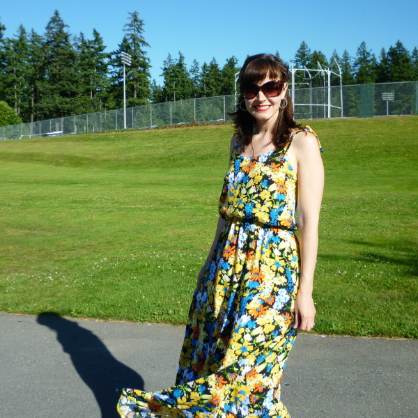 maxi skirt on saltspring dress, flowing in the breeze