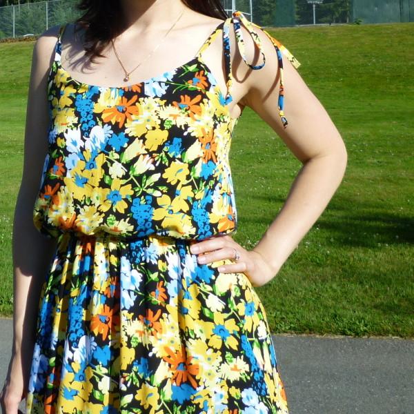 saltspring dress, sundress with ties at the shoulder