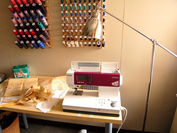 sewing table with lamp