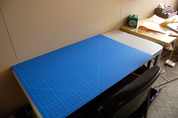 rotary cutting mat and sewing room setup
