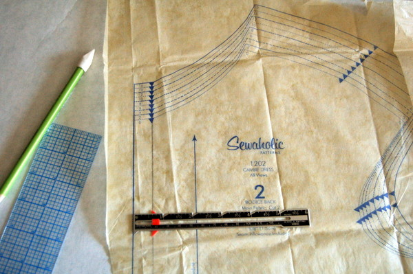measure seam allowance along centre back