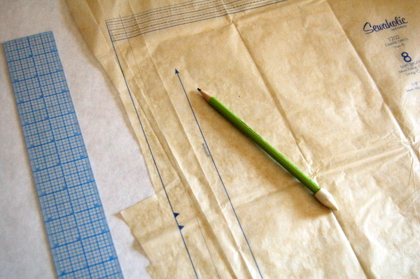 measure seam allowance along centre back of skirt