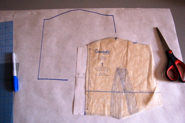trace front bodice piece