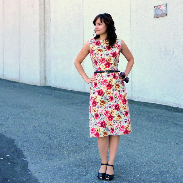 rose-print corduroy dress