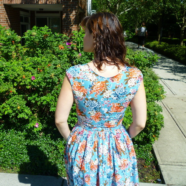 button front cambie dress back view