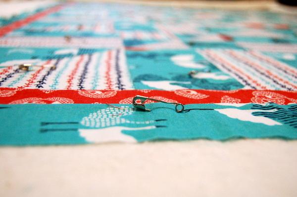 pinning quilt top