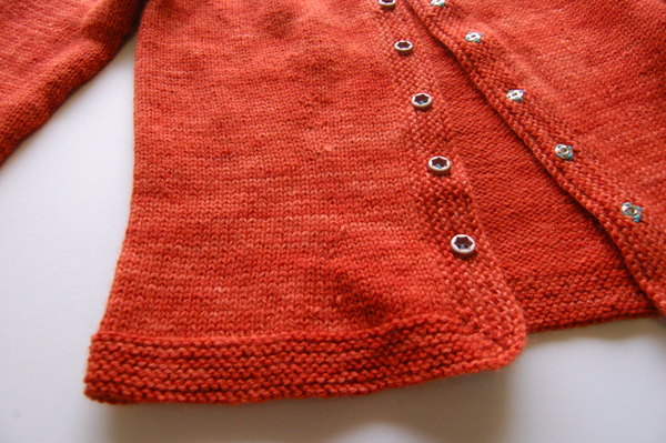 edging of Chickadee cardigan