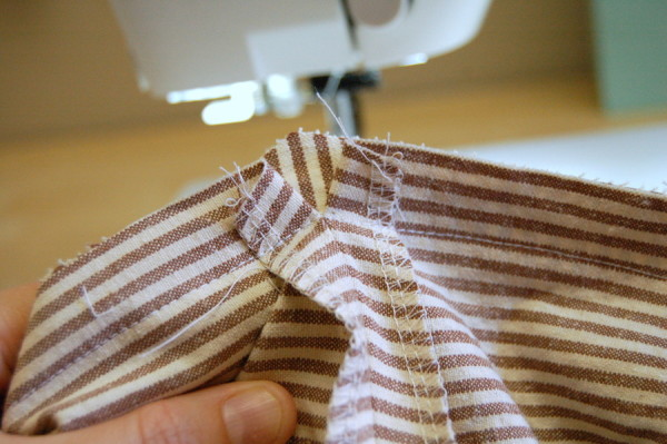 sewing point of skirt to yoke