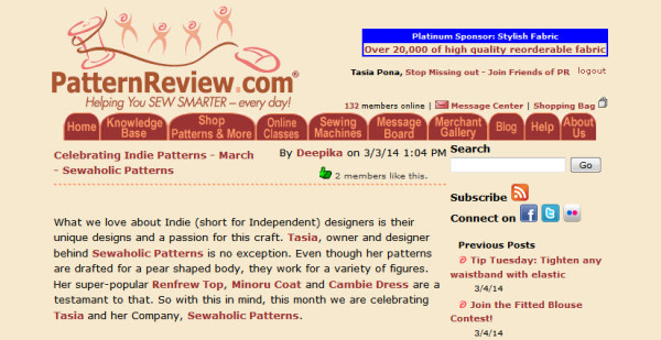 pattern review featured indie designer