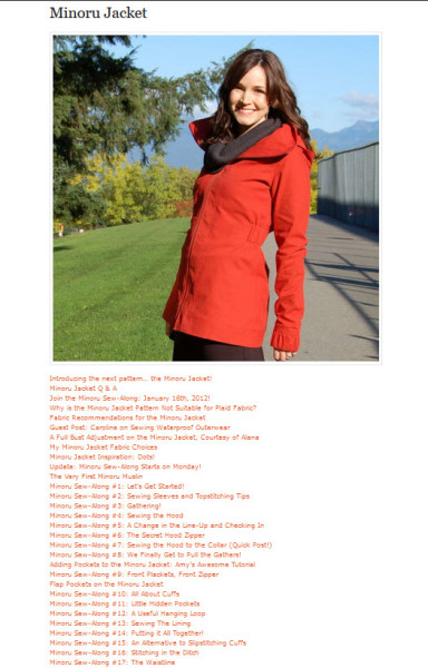 sew alongs page updates showing minoru jacket