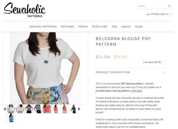 Belcarra Blouse PDF Pattern