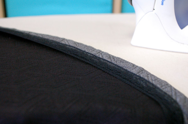 pull lace trim when applying to the hem