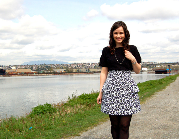 anemone skirt by deer and doe animal print with top tucked in 2