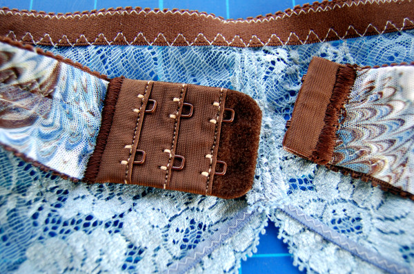 brown and blue lace garter belt back closure