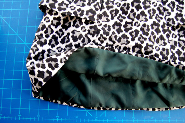 leopard print anemone skirt with forest green lining