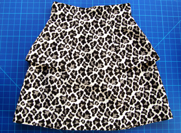 leopard print anemone skirt with peplum