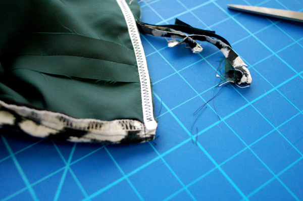 trim close to twill tape along waist seam allowance
