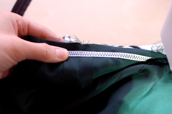 twill tape around waistline to stabilize