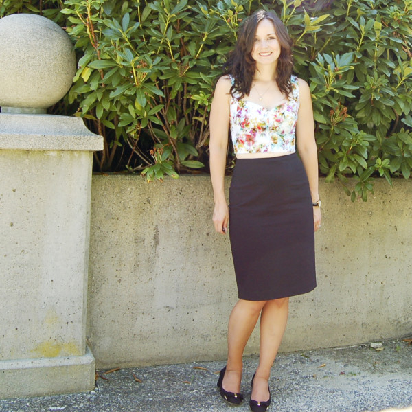 crop top burda 6970 with pencil skirt