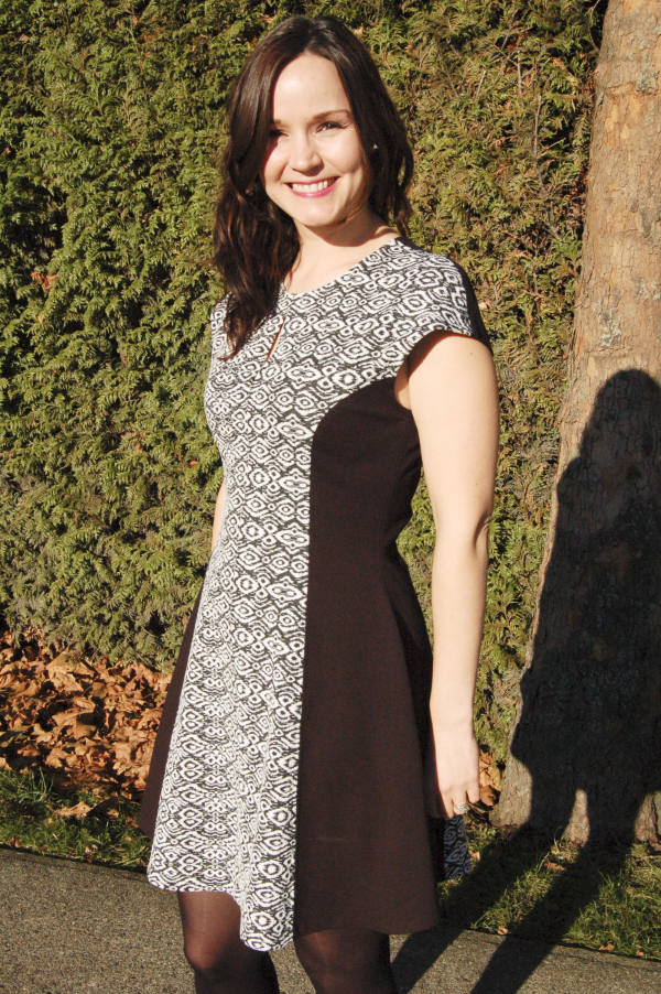 davie dress in black and white print 2