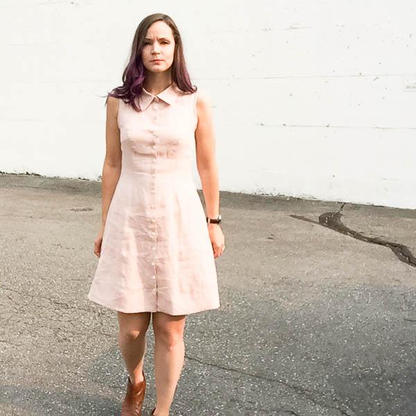 bleuet shirt dress in pale pink linen-1-12