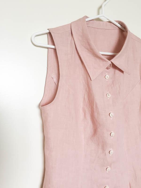 bleuet shirt dress in pale pink linen-1-15