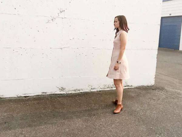 bleuet shirt dress in pale pink linen-1-9