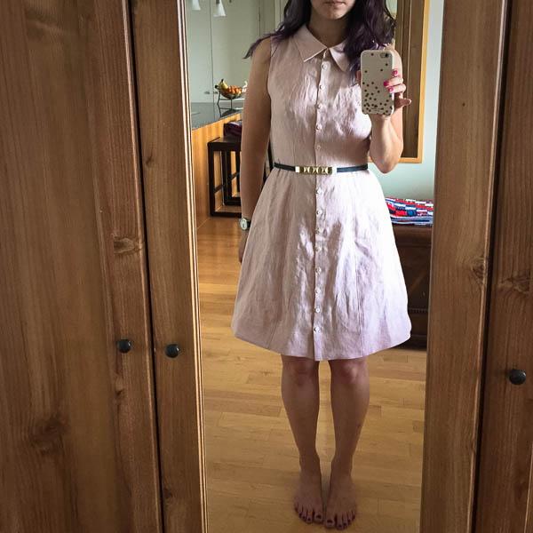 bleuet shirt dress in pale pink linen-1