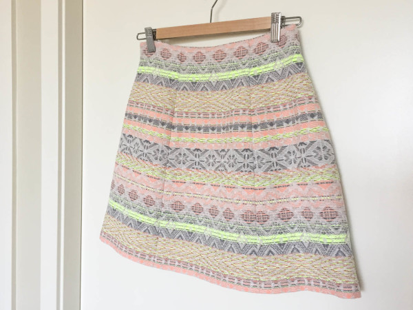 lime and neon coral stripe anemone skirt-2
