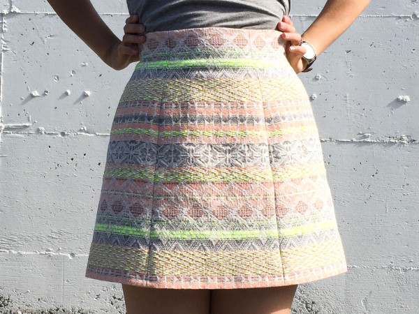lime and neon coral stripe anemone skirt