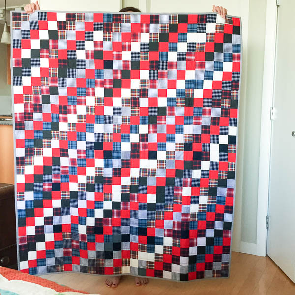 quilt made with old plaid shirts-1-4