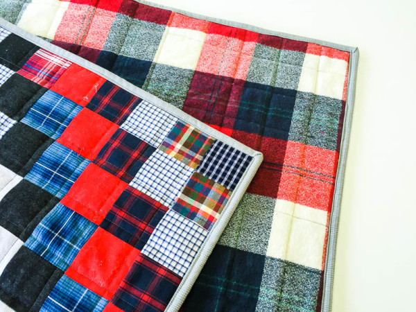 quilt made with old plaid shirts-1-5