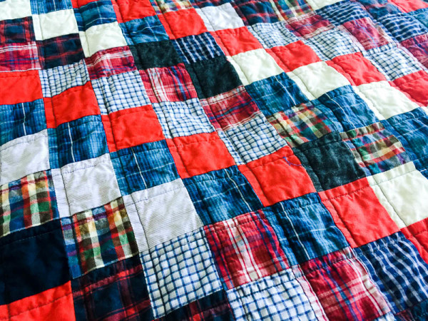 quilt made with old plaid shirts-1-6